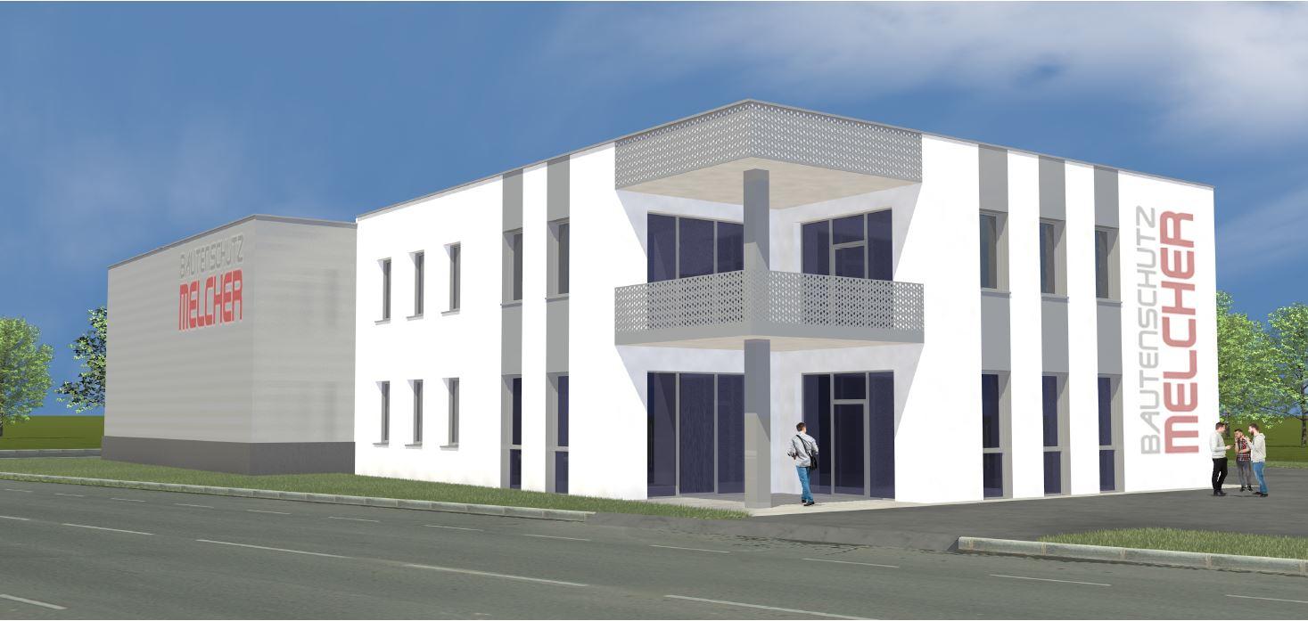 Das neue Betriebsgebäude der Firma Melcher am neuen Standort in Mödling. Die Computeranimation des Gebäudes zeigt eine Aufnahme von der Eingangseite mit angeschlossener Halle im Hintergrund
